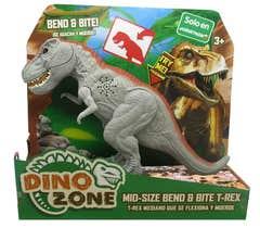 Dino Zone T-Rex Flexiona y Muerde Juguetron Gris 80076