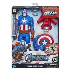 Marvel E7374 Marvel Avengers Titan Hero Series Blast Gear Figura de 12 pulgadas Capitán América Juguete Hasbro