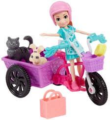 Polly Pocket Bicicleta Muñeca con Mascota