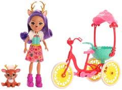 Enchantimals Muñeca Danessa Deer y Bicicleta