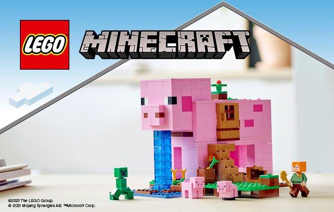 El asombroso mundo de Minecraft, con sus personajes únicos, se recrea aquí con ladrillos LEGO, para que los niños puedan crear sus propias y emocionantes historias de Minecraft.